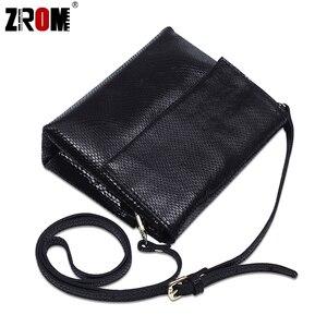 Image 5 - ZROM marque de luxe en cuir véritable brillant Serpentine or argent Crossbody réel doux en cuir de vache sacs à main dame Messenger sacs