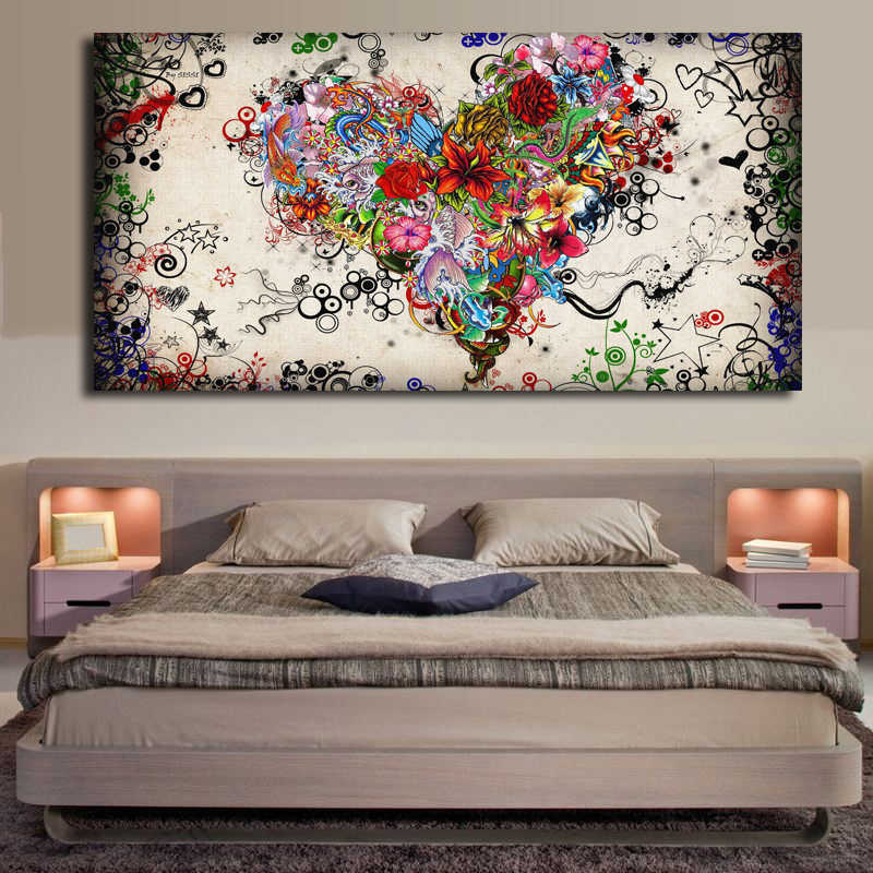 Modern Wall Art Canvas Painting Watercolor Heart Flowers Abstract Prints Wall Pictures for Kids Living Room Cuadros Home Decor