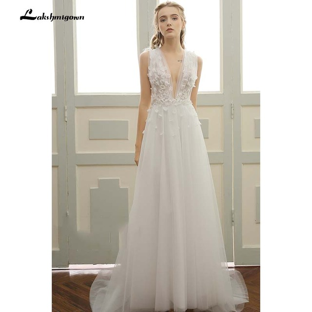 Us 138 75 25 Off Deep V Beach Wedding Dresses Vestidos De Noiva Sexy Sweep Train Summer Beach Bridal Gowns Plus Size In Wedding Dresses From