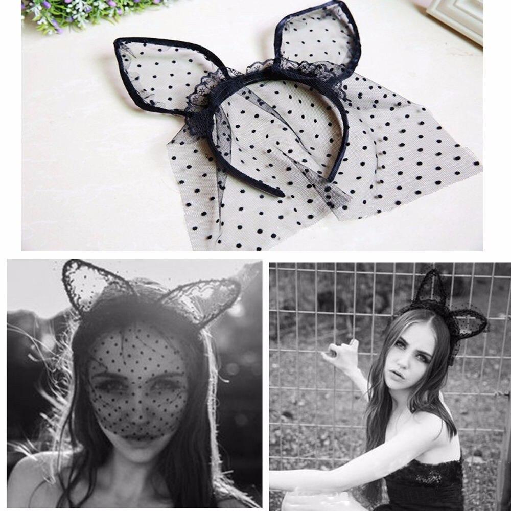 Großhandel Sexy Black Dot Katze Ohren Spitze Gaze Schleier Haar ...