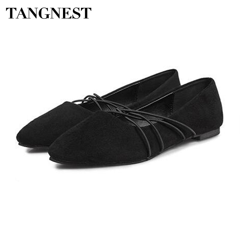 Tangnest NEW 2018 Women's Ballet Flats Sexy Pointed Toe Cross-tied Flats For Woman Suede Leather Shallow Slip-on Shoes pu pointed toe flats with eyelet strap