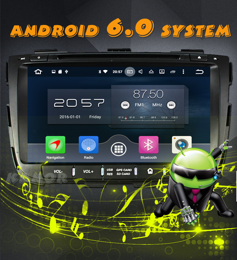 KANOR Octa Core Android 6.0 RAM 2G 32G ROM For KIA Sorento 2013 Car DVD Player GPS Radio WIFI Bluetooth Map USB Audio