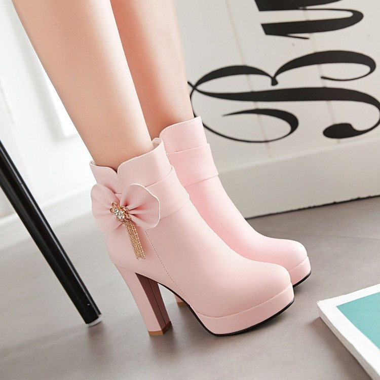7_2016 Autumn Korean Womens Pink Dress Booties Shoes Princess Bow High Heels Black And White Platform Ankle Boots For Winter