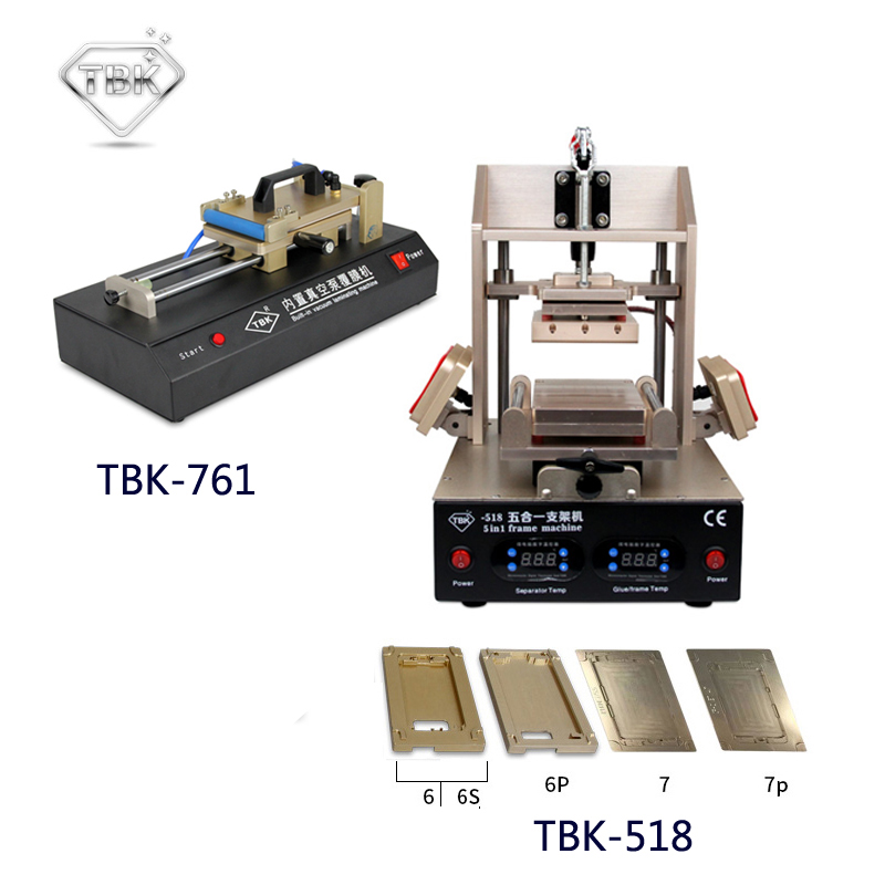 """TBK-518 5in1 skystųjų kristalų ekrano atnaujinimo aparatas, vidurinis rėmelis, separatorius / rėmo laminavimo mašina + TBK-761 įmontuota vakuuminė plėvelė, laminuojanti """"Mac"""""""