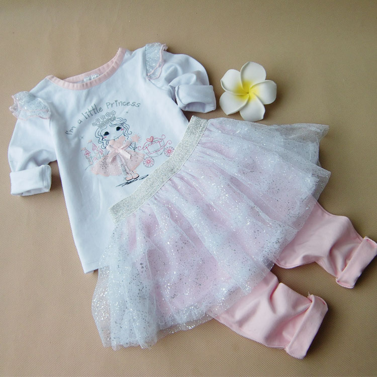 2017 Princess Baby Girl Clothes Set Infant Girls Sequins Outfits T-shirt & Skirt Pant 2 PC Suit Kids Long Sleeve Clothing 2017 summer new children baby girl clothing denim set outfits short sleeve t shirt overalls skirt 2pcs set clothes baby girls