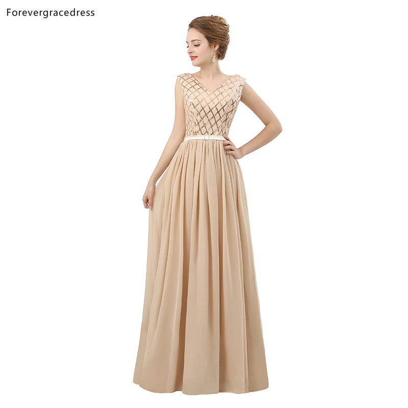 Forevergracedress Champagne   Bridesmaid     Dresses   A Line Chiffon Wedding Party Guest Maid of Honor Gowns Plus Size Custom Made