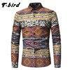 T Bird 2018 New Men Shirt Printing Plaid Shirt Long Sleeves Dress Casual Mens Shirt Camisa