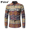T Bird 2018 New Men Shirt Printing Plaid Shirt Long Sleeves Dress Casual Mens Shirt Camisa