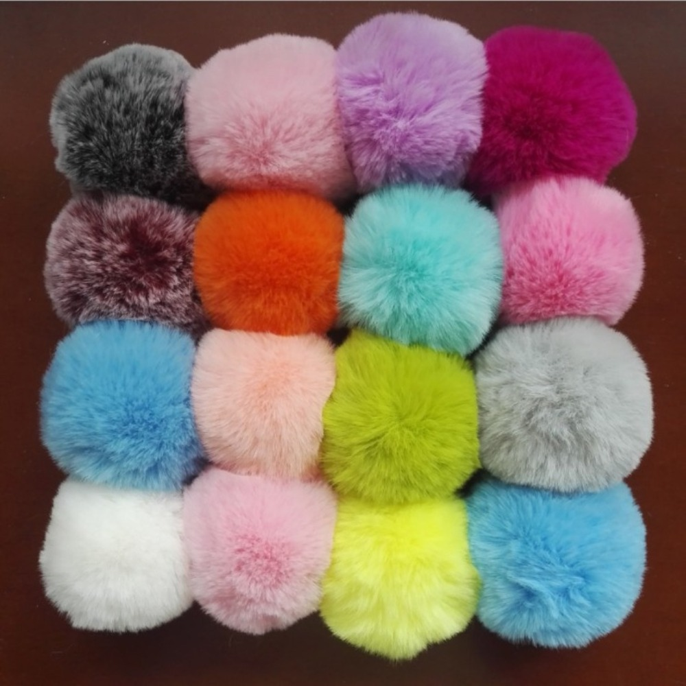 6CM~9CM Big Faux Fur PomPom DIY KeyChain Rabbit Hair Bulb Bag Pom Pom Ball Key Chain For Women Car Bag Key Ring Keychain