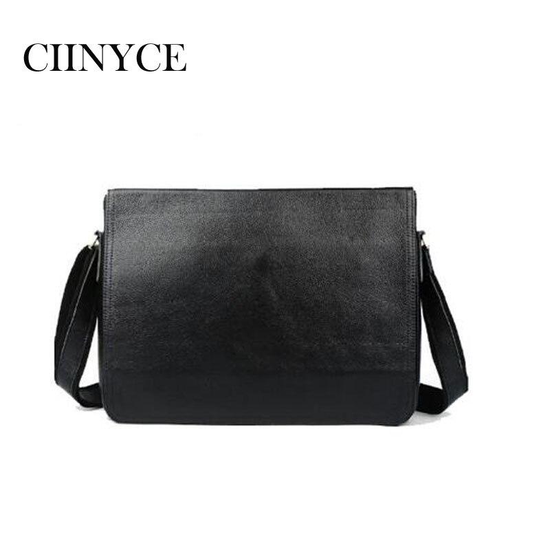 Vintage Cow Leather Genuine Cowhide Men Briefcase Portfolio Business  Handbags Black Soft Skin Messenger 14 inch Laptop Bag d4f7b71ceef50