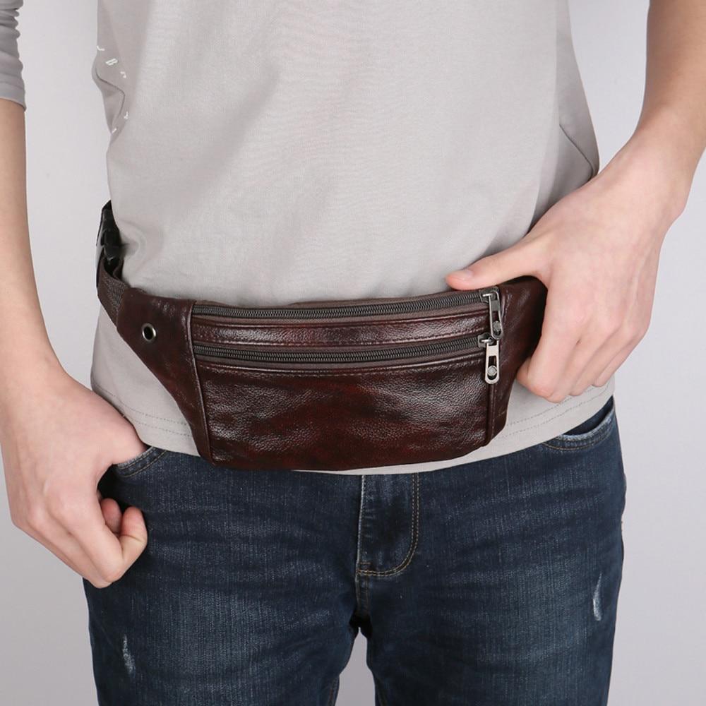 Mini Waist Bag Men PU Leather Fanny Pack Fashion Belt Bag Unisex Phone Pouch Casual Black Chest Bags #YJ
