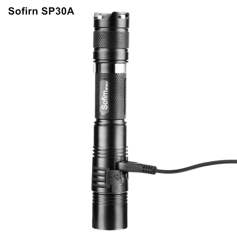Sofirn SP30A Kit Powerful LED Flashlight Rechargeable USB Flashlight 18650 Cree XPL 1000LM Torch light 6 Mode Tactical Lanterna