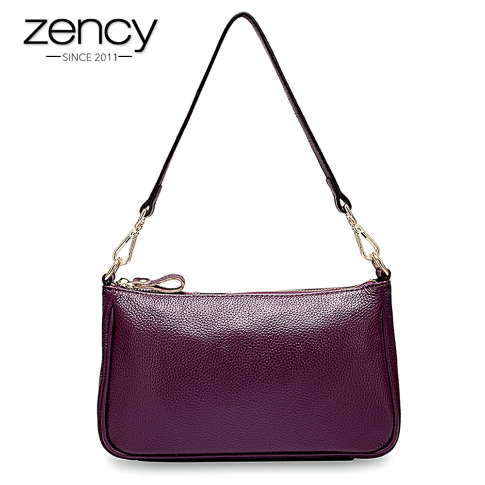 Zency Elegant Purple Women Shoulder Bag 100% Genuine Leather Handbag Black Hobos Fashion Lady Messenger Crossbody Purse Small