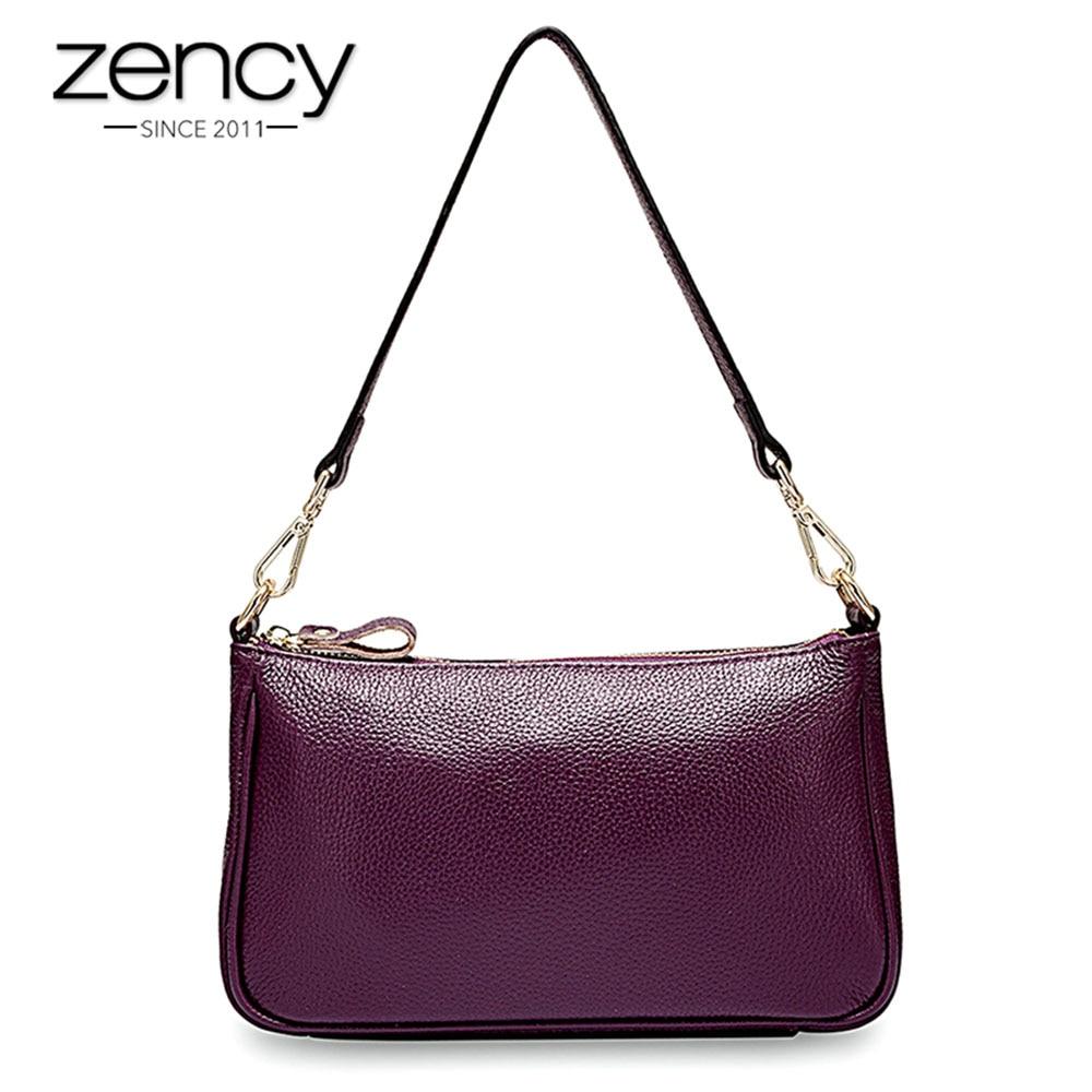 Zency Elegant Purple Women Shoulder Bag 100% Genuine Leather Handbag Black Hobos Fashion Lady Messenger Crossbody Purse Small|Shoulder Bags| |  - title=