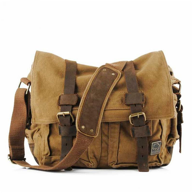 2019 Fashion Vintage Canvas  Men's Women's Rucksack Travel Satchel Messenger Laptop Shoulder Bag 14