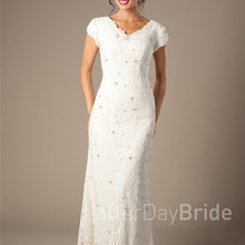 cecelle Vintage Lace Mermaid Wedding Dresses Cap Sleeves