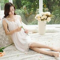 2017 summer Sleepwear Women Cotton Nightgowns Sexy lace sleeveless Home Dress Nightdress s780
