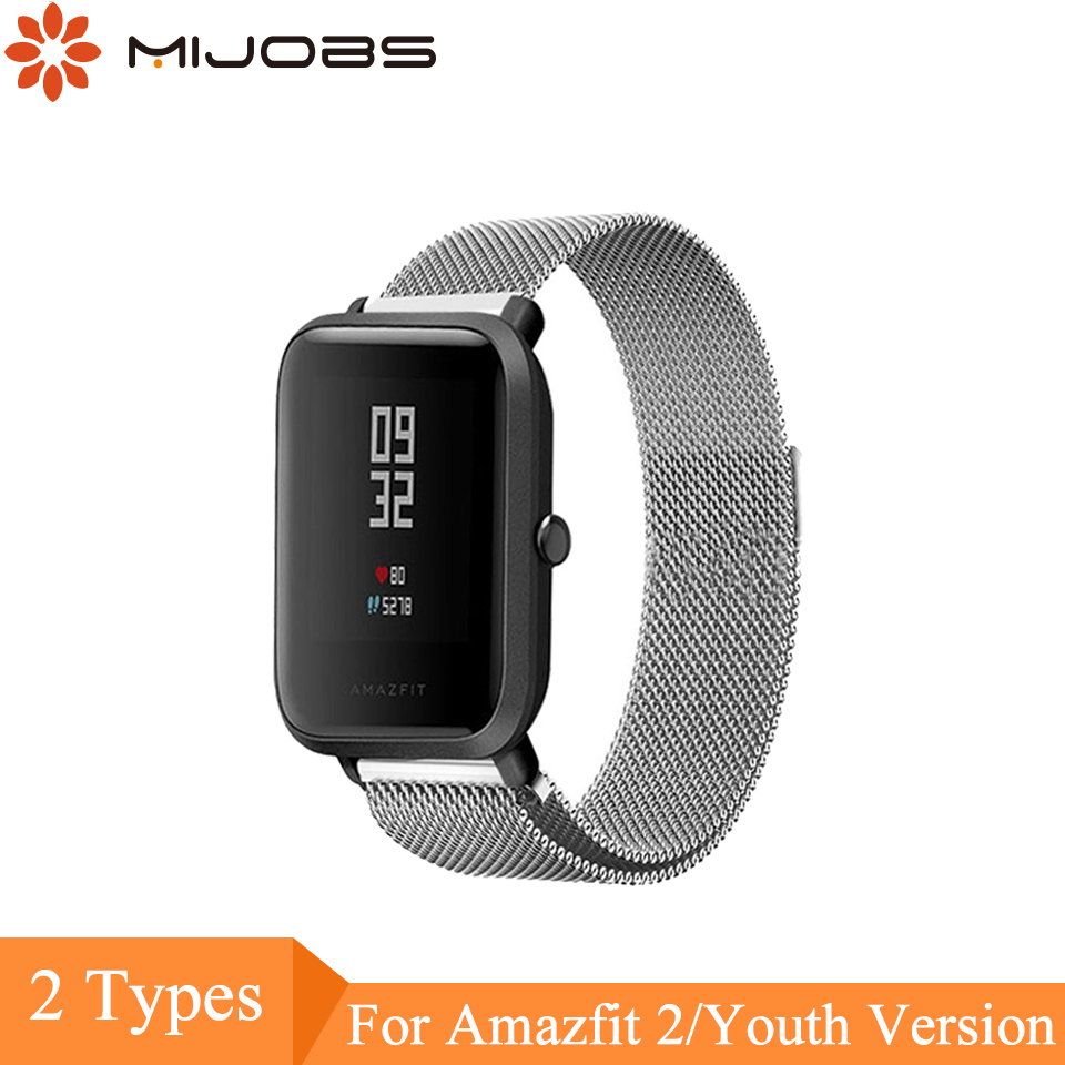 Mijobs 20mm 22mm Strap For Xiaomi Huami Amazfit Bip Smartwatch Milanese Loop Magnetic Buckle Smart Watch