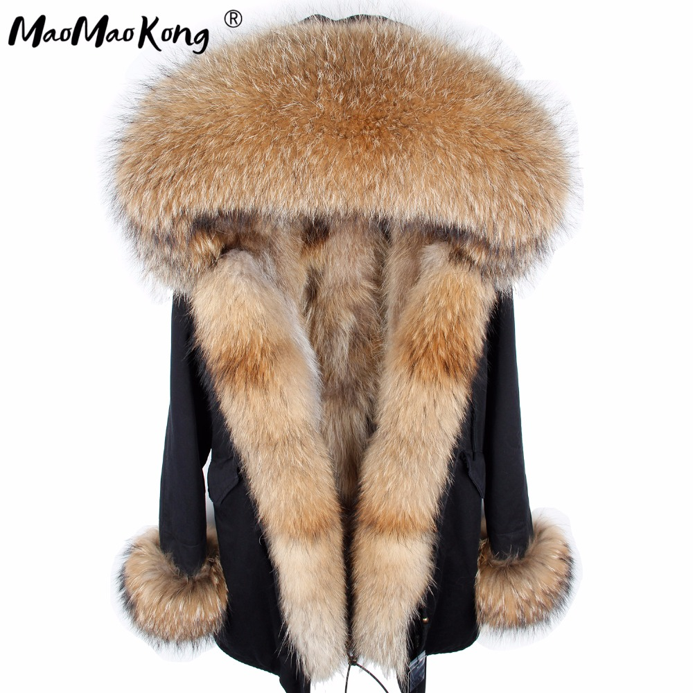 Maomaokong Fur Coat Parkas Winter Jacket Coat Women Parka Big Real Raccoon Fur Collar Natural Fox Fur Liner Long Outerwear