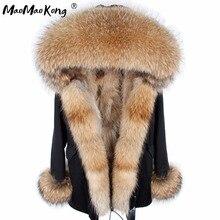 Женское пальто из лисьего меха, парка, зимняя куртка, пальто, женская парка, большой воротник из натурального меха, куртка Дамская, длинная верхняя одежда из натурального Лисьего меха