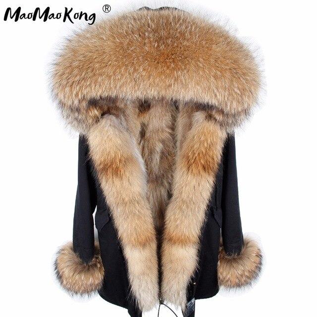 Maomaokong manteau de fourrure parkas veste d'hiver manteau femmes parka grand réel raton laveur col de fourrure de renard naturel doublure longue vêtements d'extérieur