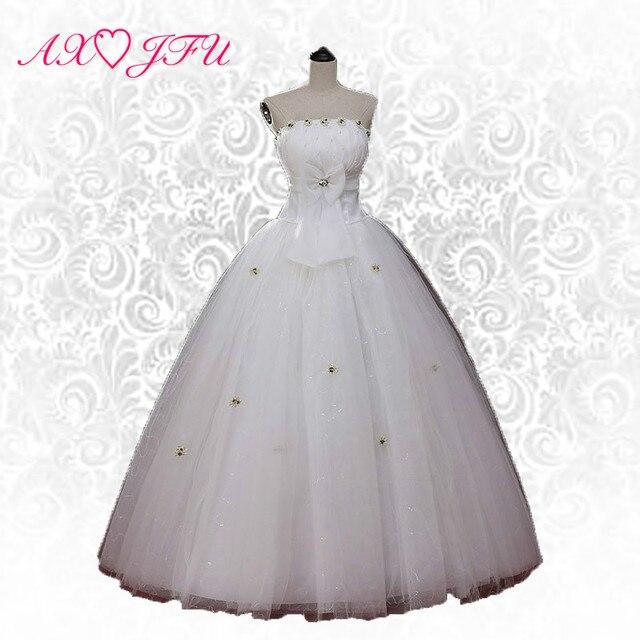 a02ea4f96 € 38.14 10% de DESCUENTO|AXJFU princesa boda del cordón del vestido de boda  superior del tubo de la novia flor de la boda del vestido del vendaje S ...