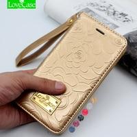 Dernières 7 plus camélia portefeuille flip En Cuir Verni Cas pour iPhone 7 Plus 7 Plus Véritable En Cuir téléphone Sac Pochette Couverture de Téléphone Cas