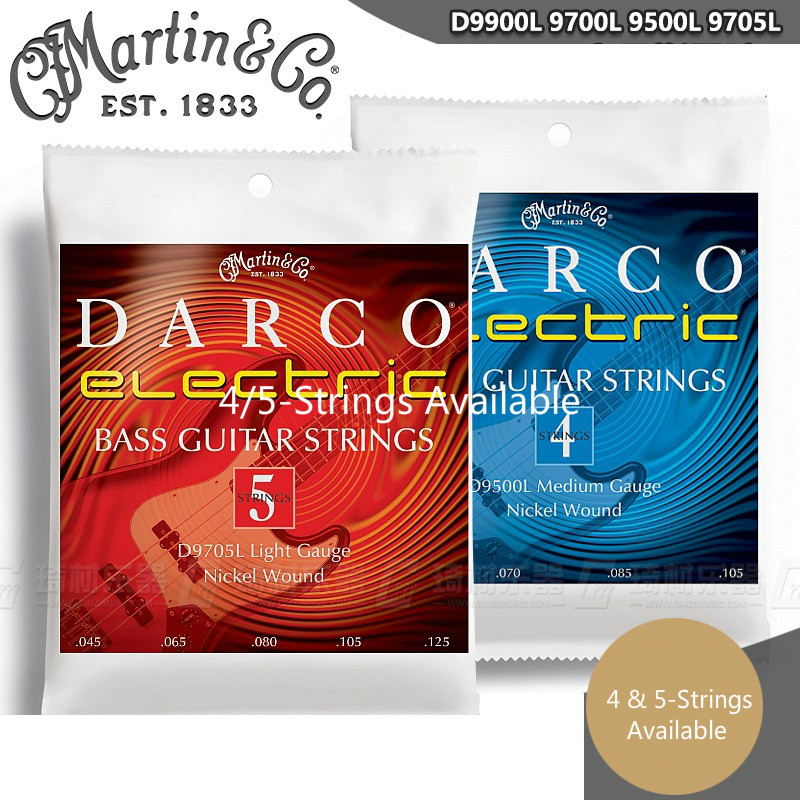 Martin Guitar Darco Series Nickel Wound Electric Bass Guitar Strings, 4/5-strings available d addario daddario exl110 american made nickel wound electric guitar strings regular light 10 46
