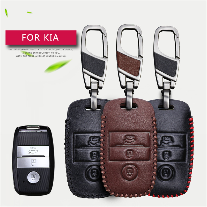 2017 New Genuine Leather Car Smart Key Case Cover For Kia Ceed Cerato Optima Rio 3 K2 Soul Sportage 3 Buttons Key Chain Case maizhi 3 button flip folding car key shell for hyundai avante i30 ix35 kia k2 k5 sorento sportage key cover case styling
