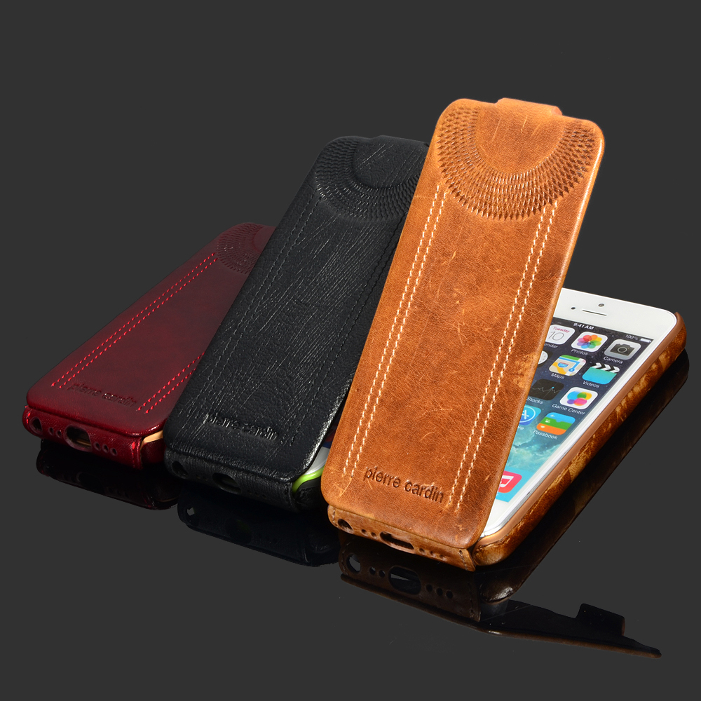 for Apple iPhone 5 5S SE Phone Case Luxury Genuine Leather Flip over Case Classic style Open Up and Down