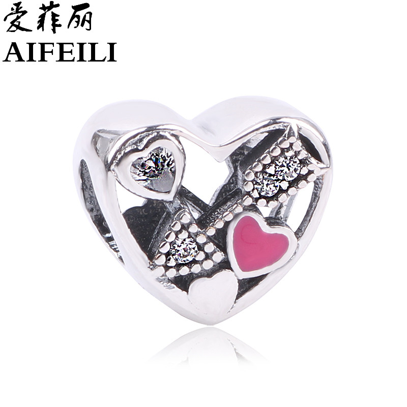 AIFEILI Silver Beads DIY Fit Pandora Bracelets Authentic 925 Sterling-Silver-Jewelry Struck by Love Charms for valentines day