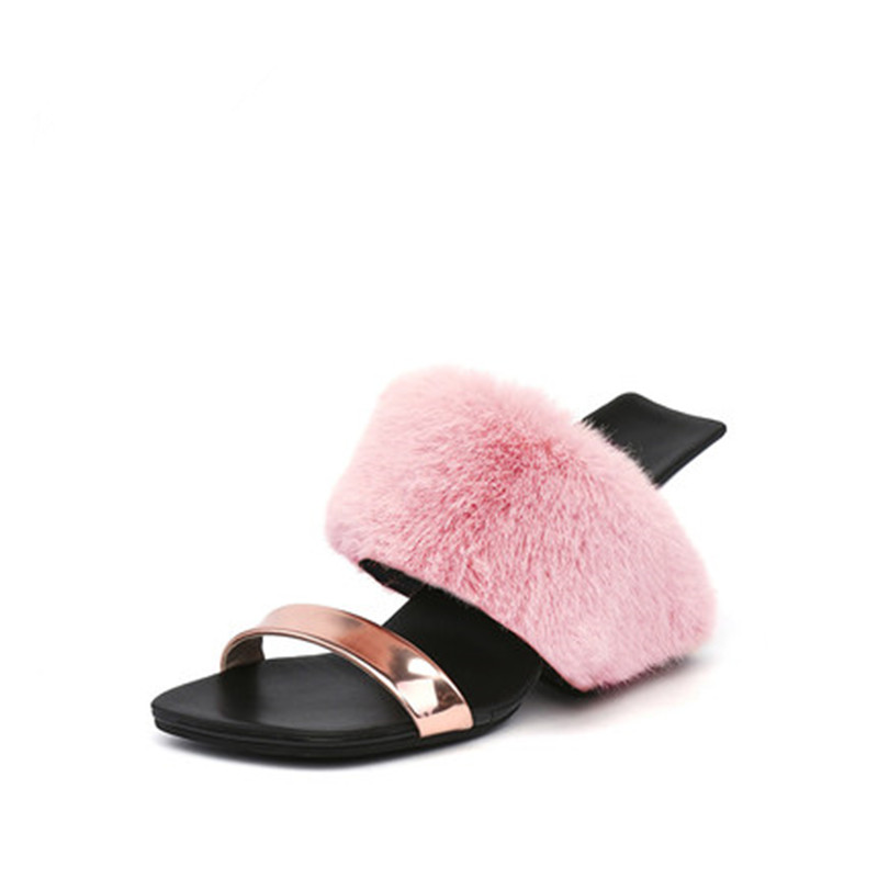 Slipper woman new summer outside wear fashionable wedges two wear the princess slippers new plush shoes 2017 new summer shoes woman slippers cozy leather classic slippers designer woman outside slippers tide woman shoes slippers