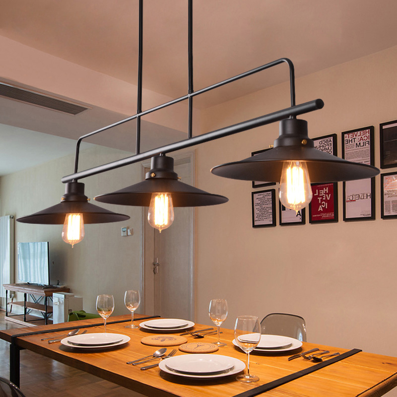 Kitchen Lamp Ceiling Lights Black Vintage 3 Fixtures Pendant For Dining Room Loft Iron Lampshade Retro Restaurant Home Hanglamp In From