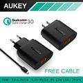 Carga rápida 3.0 AUKEY puertos USB cargador de pared con Micro Cable USB para Samsung Galaxy S7 / S6 / edge, LG g5, iphone, ipad, Nexus 6 P