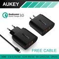 De 3.0 AUKEY portas USB carregador de parede com cabo Micro USB para Samsung Galaxy S7 / S6 / borda, Lg g5, Iphone, Ipad, Nexus 6 P