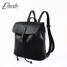 Etersto 2017 NEW Black Leather Backpacks Women Bags For Teenagers Girls Fashion Female Backpack High Quality Designer Ladies