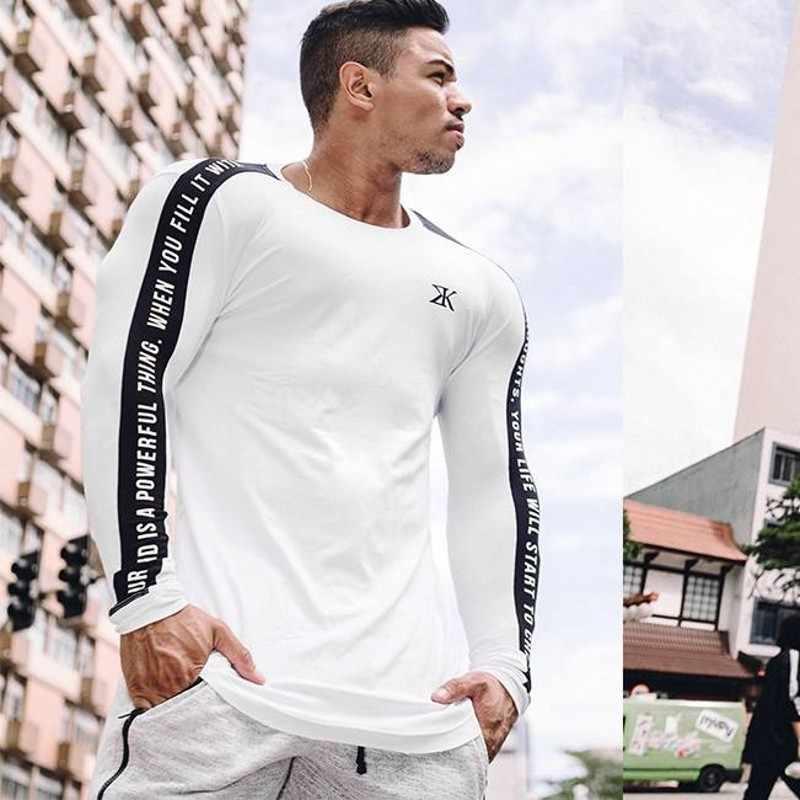חדרי כושר מותג 2018 חדש אופנה מותג גברים בגדים מוצק צבע ארוך שרוול Slim Fit T חולצה גברים כותנה חולצה מזדמן T חולצות M-3XL