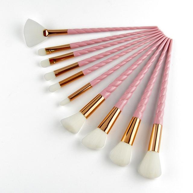 10 pcs Sprial makyaj fırçası Set Pembe Vakıf Karıştırma Toz Göz Farı Fırçalar Kozmetik Güzellik Makyaj Araçları