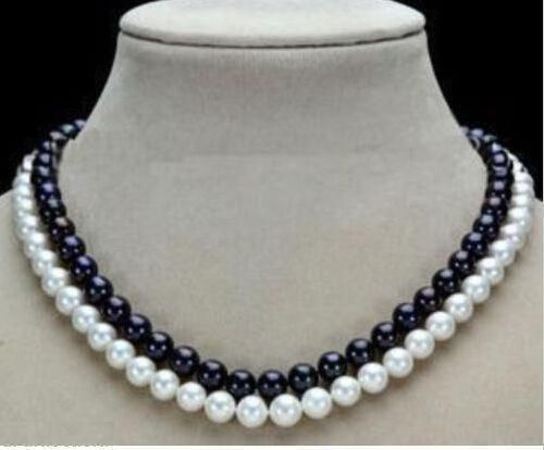 925silver GoldDouble Strands 9-10mm Natural South Sea Black&White Pearl Necklace 18925silver GoldDouble Strands 9-10mm Natural South Sea Black&White Pearl Necklace 18