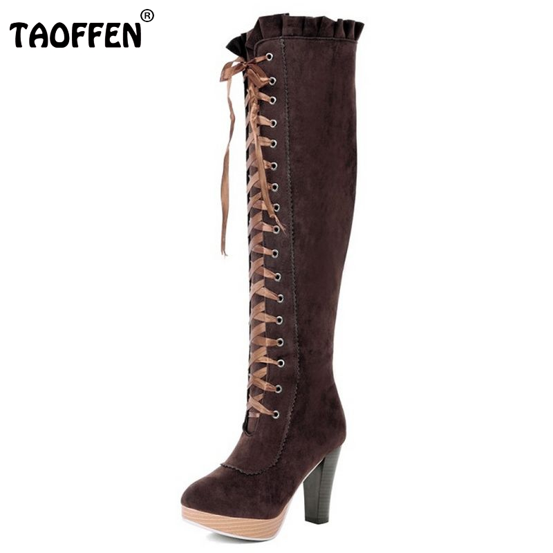 women high heel over knee boots ladies fashion long snow boot warm winter botas heels footwear shoes P2415 size 34-45