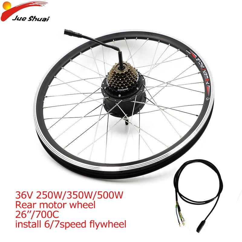 Moteur de moyeu de vitesse sans brosse JS 36 V 500 W pour vélo électrique avec Kit de conversion de Cassette 6/7 vitesses pièces accessoires Ebike