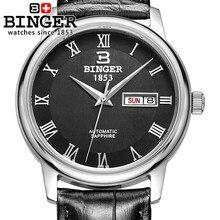 Vosicar Número Romano Relógios Binger Automático Dos Homens Clássicos da Moda de Couro Relógio de Pulso 2016 Hot Venda Data Dupla Relógio
