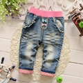 Primavera niñas otoño de la historieta conejo de mezclilla pantalones largos embroman los pantalones roupas de bebe