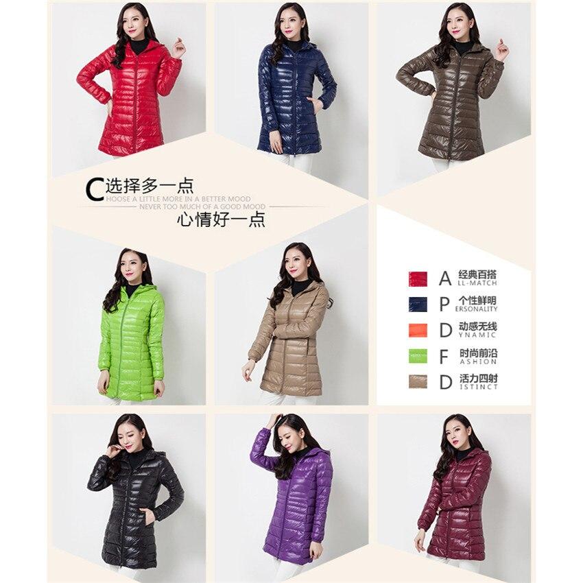 Image 4 - 2018 New Winter Slim Women Midi Long White Duck Down Jacket Big  Size Down Jacket Lady Down Coat Hooded Coats Female Jackets 403Down  Coats
