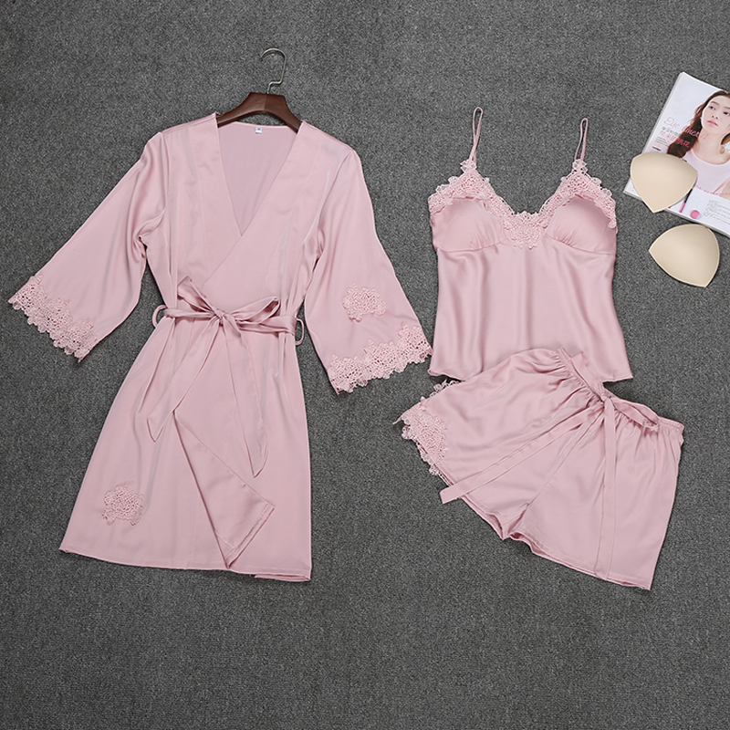 Ladies Sexy Silk Satin Robe   Pajama     Set   Lace Bathrobe+Top+Shorts 3 Pieces Summer Spring Sleepwear Nightwear   Set   For Women