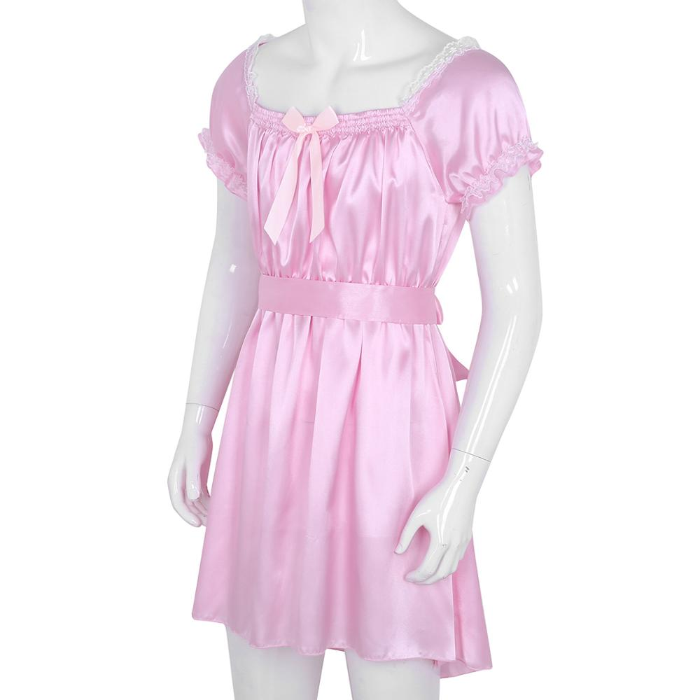 7e77f06e044ab Mens Sissy Lingerie Sissy Dress for Men Shiny Soft Satin High Low  Crossdress Lingerie Dress with Sash Nightwear Gay Underwear