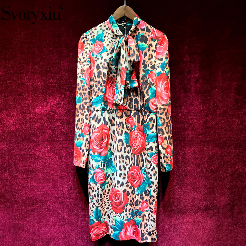 Svoryxiu Runway Custom Made Spring Summer Leopard Rose  Printed Dress Women's Elegant Bow Collar Slim Female Party Midi Dresses-in Dresses from Women's Clothing    1
