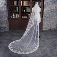 SoDigne Long Lace with Flowers Wedding Veil White Bridal Veils Wedding Accessories In stock High quality