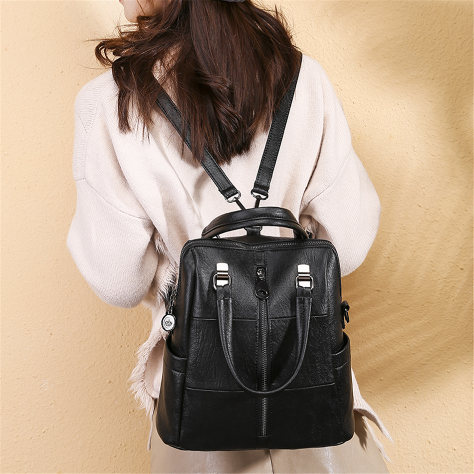 3-In-1 Women Backpacks Vintage Female Shoulder Bags Soft Leather Backpack Ladies Travel Back Pack Luxury Bags For Girls Mochilas