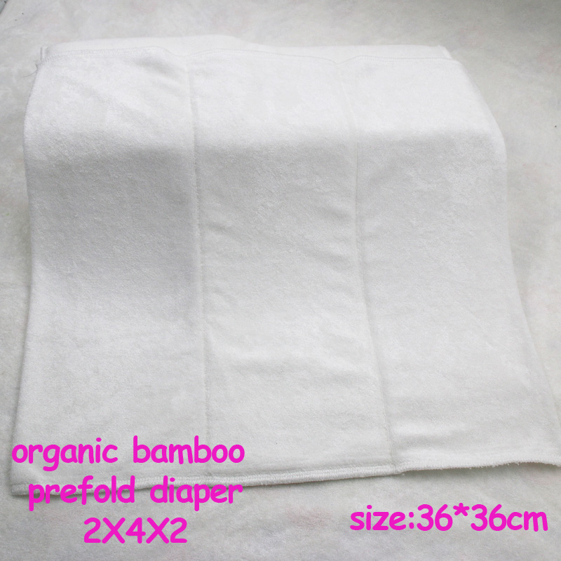 Oeko-certificated 2X4X2 Layer Super Absorbent Reusable organic bamboo prefold diaper 36*36cm, prefold cloth diaper 1pc